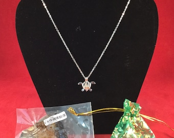 Wonderful Clam to open to get to your Pearl w/ Turtle Necklace & jewelry bag