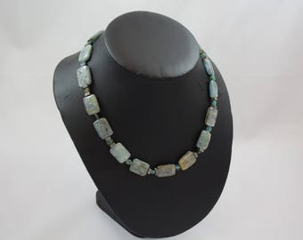 kyanite, apatite,  silver tone accents, necklace N38
