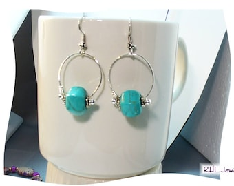 Turquoise Earrings, Turquoise and Silver Earrings, Howlite Earrings, Modern Jewelry - E2017-03