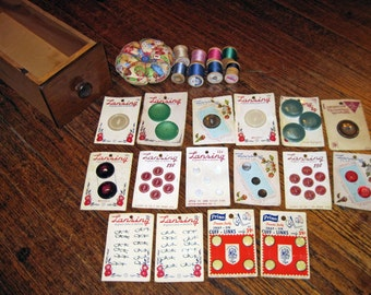 Antique Sewing Machine Drawer Full of Vintage / Antique Buttons on Cards, Wooden Spools of Thread, New Pincushion ! Sewing Supplies, Gifts.