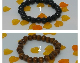 Man bracelet beads wood.