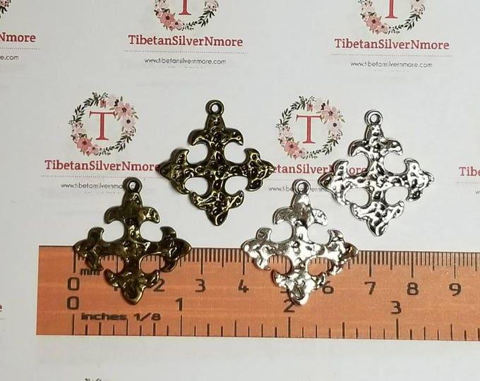 8 pcs per pack 27mm Fleur de Lis end Hammered Cross Charm Antique Bronze or Antique Silver Lead Free Pewter