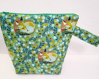 Fox Project Bag,Knitting Project Bag, Large Project Bag, Project Bag for Knitting, Crochet Bag, Accessory Pouch, Travel Pouch