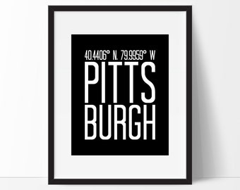 Pittsburgh, Pittsburgh Pennsylvania Art Print, Pennsylvania Art, City Art, Pittsburgh PA, Pittsburgh Coordinates, Pennsylvania Wall Art