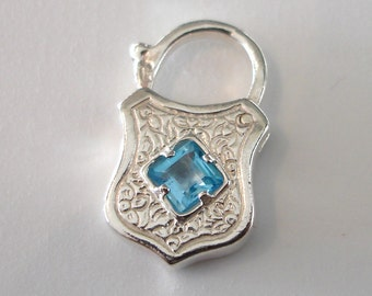 Sterling Silver Engraved Working Padlock Set with a Sparkling Faceted Sky Blue Gemstone for on a Charm Bracelet