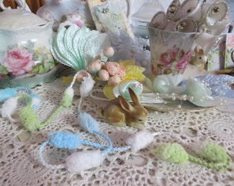 Puff Ball Trim-Gree and Blue-Altered Art-Mixed Media-Supplies-5 yards