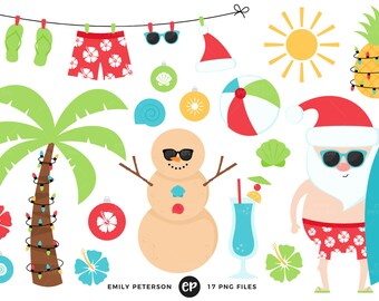 50% OFF SALE! Christmas in July Clip Art, Tropical Santa Clipart, Christmas Beach Clip Art - Commercial Use, Instant Download
