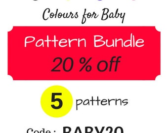 CODE for Bundle of 5 pdf Patterns 20% OFF with CODE BABY20 : choose any shop pattern