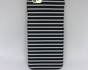 New! Black white stripes hard shell matte snap on iPhone 6 6s case phone cover