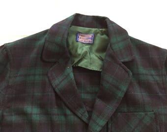 Vintage 50s Pendleton Blackwatch Blue Green Plaid 49er Jacket Small