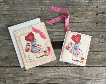 Handmade Vintage Style Valentine Card and Gift Tag Set, For Her