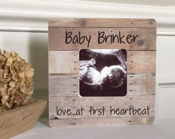ON SALE Baby Announcement  Sonogram Ultrasound Love at First Sight Frame Personalized Picture Frame