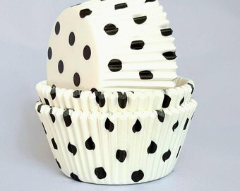 High Quality White & Black Polkadot Standard Size Cupcake Cases Cupcake Liners