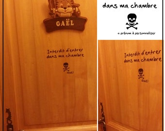"""Sticker """"Forbidden to enter my room"""" skull + name to personalize it for decorate your child's room door"""