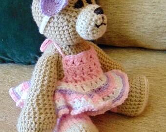 """Crocheted teddy bear stuffed animal doll toy """"Maggie"""""""
