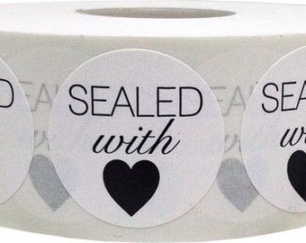 "1"" Round Sealed with Love White Semi Gloss Stickers with Black Print 