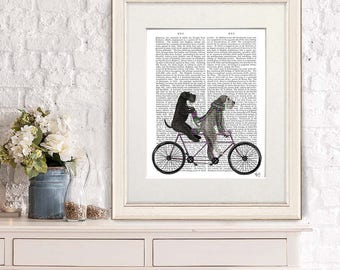Unique couple gift - Schnauzer on tandem - Wedding gift Valentine gift Couple gift Anniversary gift Tandem bike Cycling gift Bicycle art