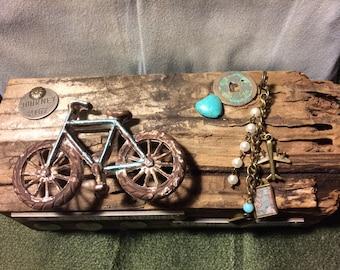 Rustic Altered Salvaged Wood Block, BICYCLE HANDLE LOG, Turquoise Heart, Mixed Media, Folk Art, Steam Punk, Ephemera
