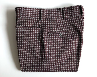 Vintage Men's 70's Disco, Houndstooth, Polyester Pants, Black, White, Flare Leg by Aden & Josie (32)