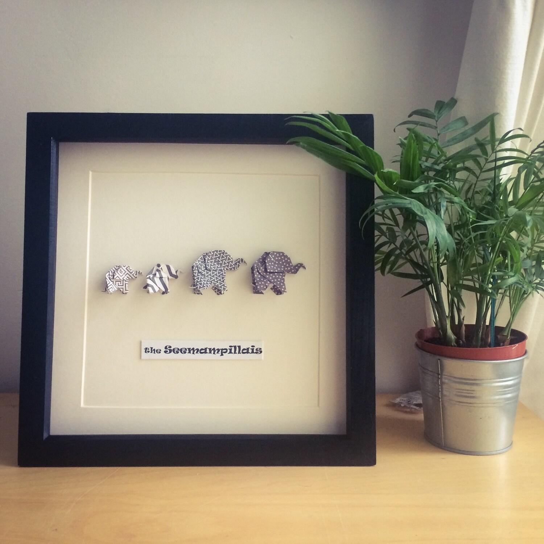 Origami Elefanten Familie Bilderrahmen personalisierte neue