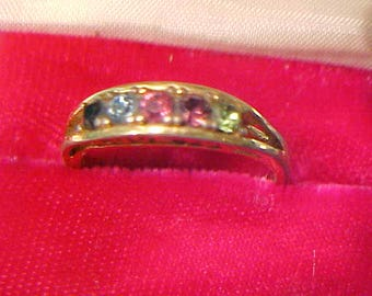 Vintage 1980's I Love You Ring Gold Tone w/Simulated Birth Stones Size 7.5