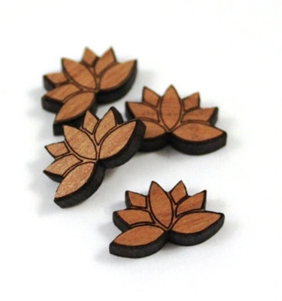 Laser Cut Supplies-8 Pieces.Lotus Flower Charms - Laser Cut Wood Lotus -Earring Supplies- Little Laser Lab Sustainable Wood Products