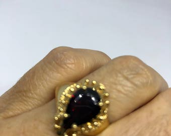 Vintage Bohemian Garnet 925 Sterling Silver gold Rhodium Finish Ring