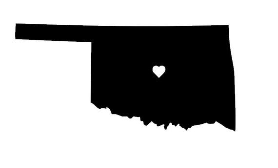 Oklahoma vinyl car decal heart over oklahoma city tulsa