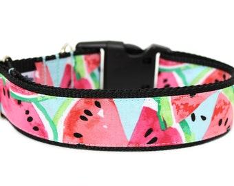 """Watermelon Dog Collar 1"""" or 1.5"""" Summer Dog Collar"""