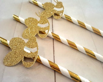 Bumble Bee Straws, Bee Straws, Gold Bumble Bee Decorations, Bee Bridal Shower, Bee Birthday, Bee Baby Shower, Mommy to Bee, Bride to Bee