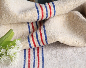 FP 505: antique, grainsack, CORNFLOWER Blue STRAWBERRY Red, pillow, cushion, 53.15 long ,grain sack fabric, upholstery project, gogmuljalu