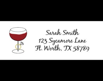 30 Return Address Labels - Wine and Rings -  Burgandy -  Wine Address Labels - WIne Bridal Shower