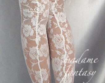 White lace top lace up back stockings