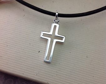 Boys confirmation gift, sterling silver cross necklace on leather cord, Mens Jewelry, minimalist jewelry, simple jewelry MS112