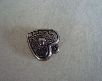 Antiqued silver heart charm