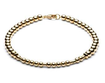 Ball Bracelet/Name Bracelet • Morse code • 14k Gold