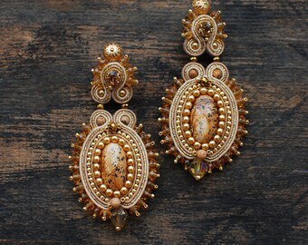 Soutache dangle earrings, Gold and beige earrings, Embroidered earrings, Beaded earrings, Gift for her, Evening earrings, FREE SHIPPING