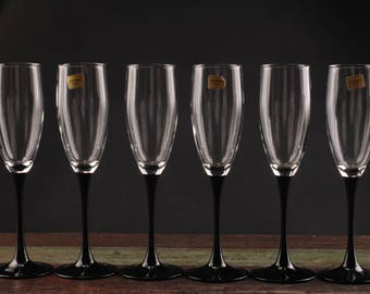 Luminarc Champagne Glasses with Black Glass Stem, France, Set of 6