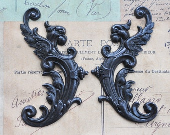 TWO Winged Gargoyles Brass Stampings, Left and Right, Black Satin Finish, Scrapbooking, Jewelry Supplies, Gothic Jewelry