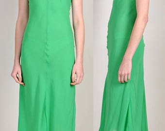 vintage HOLLY HARP 1970's green mid length dress with lace strap     H11