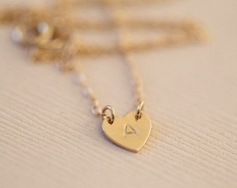 solid gold necklace, heart necklace, initial necklace, custom necklace - 14k gold dainty necklace