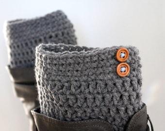 Grey boot cuffs, Grey legwarmers, Boot liners, Women's knit boot cuffs, Boot toppers, Ladies winter accessories, Crochet leg cuffs, Leggings