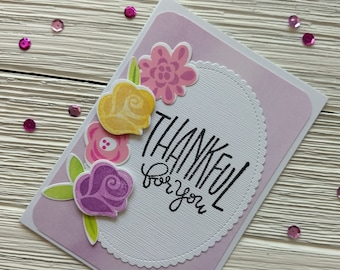Thankful for You Card - Floral Thank You Card - Purple Thanks Card - Teacher Thank You - Thank You for Her - Roses Card - Appreciation Cards