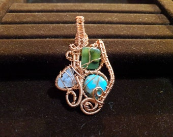 Tri stone wire wrapped pendant