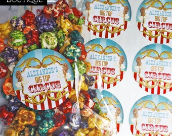 Circus Party, Circus Stickers, Circus Favors, Big Top Circus, Birthday Party, Carnival Stickers, Carnival Party, Popcorn, Circus Peanuts