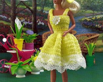 "Summer Sundress 11 1/2"" Doll Crochet Pattern Annies Fashion Doll Crochet Club FC36-02"