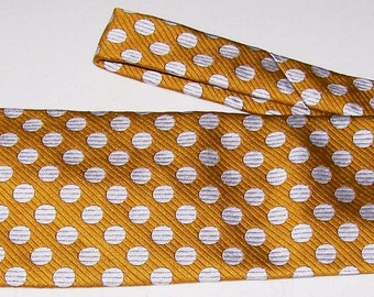 "Vintage 1970's MR JOHN NECKTIE Gold & White Polka-Dots Polyester 4-1/2"" Wide Mod Retro"