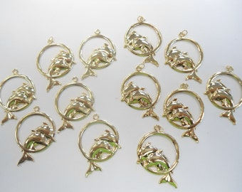 6 Pairs of Dolphin Earring Dangles Charms