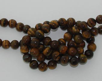 10 pearls 10mm Brown Tiger eye gemstone