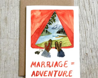 Marriage = Adventure Greeting Card, Wedding Congratulations Card, Watercolor Camping Card by Little Truths Studio